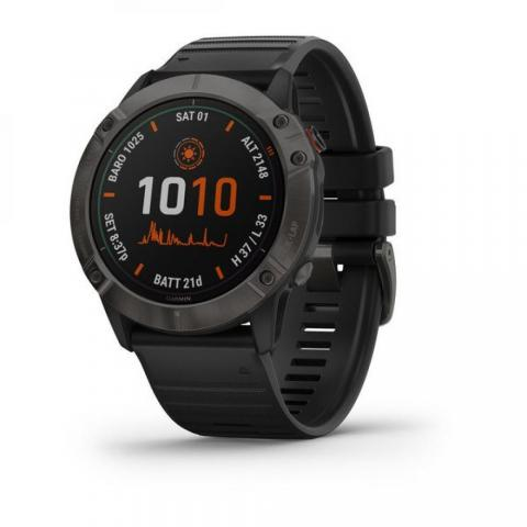 Fenix 6X Pro Solar Titanium Carbon Gray DLC with Black Band