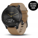 Vivomove HR Onyx Black Stainless Steel Case with Tan Suede Band