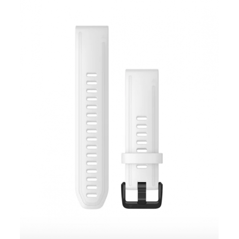 QuickFit Band 20mm White Silicone with Black Hardware