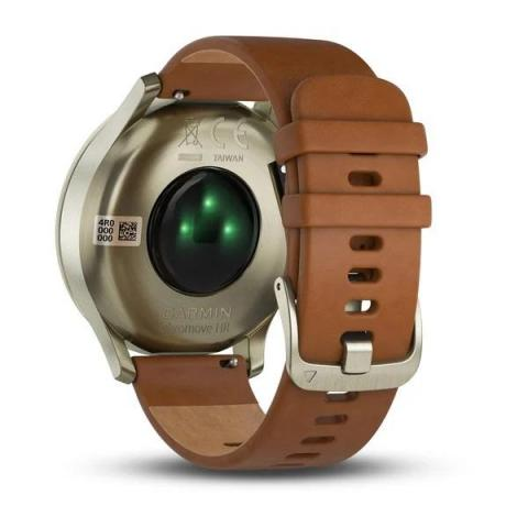 Vivomove HR Light Gold Stainless Steel Case with Light Brown Leather Band