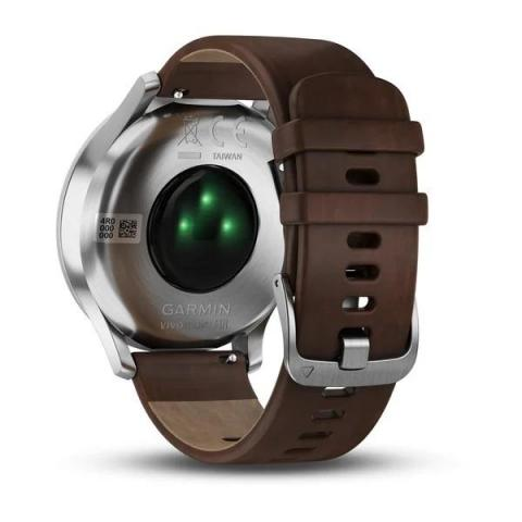 Vivomove HR Silver Stainless Steel Case with Dark Brown Leather Band