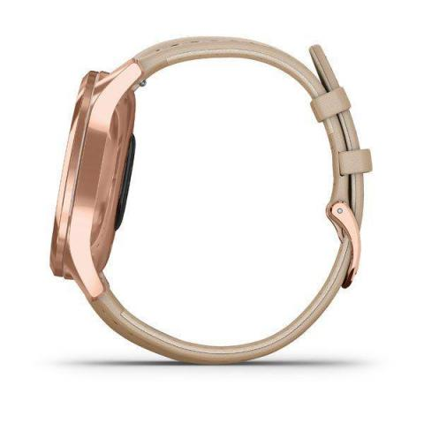 Vívomove Luxe 18K Rose Gold PVD Stainless Steel Case with Light Sand Italian Leather Band