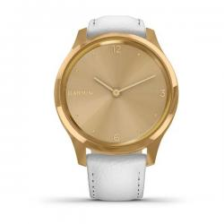Vívomove Luxe 24K Gold PVD Stainless Steel Case with White Italian Leather Band