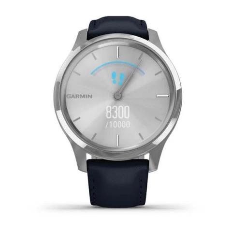 Vívomove Luxe Silver Stainless Steel Case with Navy Italian Leather Band